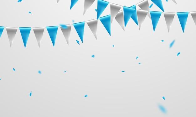 Fahne blauer konzeptentwurfsschablonenfeiertag happy day