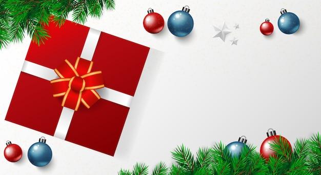 Fahne der frohen weihnachten mit vektor, goldsterne, rotes blaues weißes backgro der weihnachtskugeln