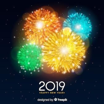 Fahne des neuen jahres 2019 mit feuerwerken