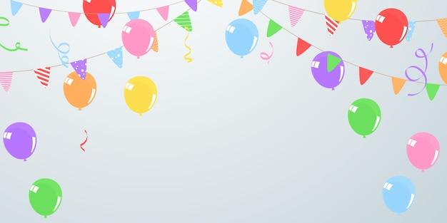 Fahne farbe ballons konzept design vorlage urlaub happy day, hintergrund feier.