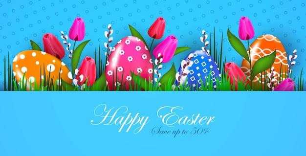 Fahne flyer oder grußkarte der glücklichen osterfeiertagsfeier mit der horizontalen illustration der dekorativen eier und blumen