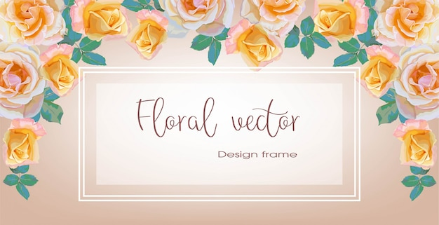 Fahnen des rosenblumenblumenstraußrahmens für einladungsgrußkarten-vektorillustration