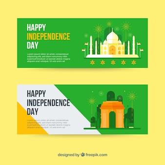 Fahnen für den unabhängigkeitstag von indien mit flachem design