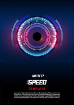 Fahnen-geschwindigkeitsbewegungshintergrund mit schnellem geschwindigkeitsmesserauto.