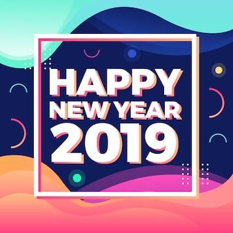 Fahnen-Hintergrund des guten Rutsch ins Neue Jahr 2019