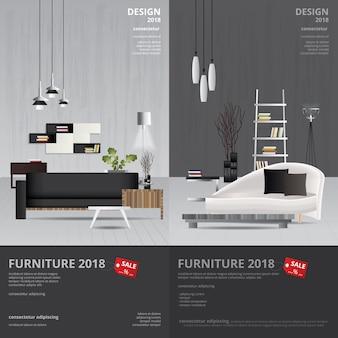 Fahnen-möbel-verkaufs-design-schablonen-illustration