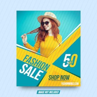 Fahnen-schablonendesign des modeverkaufseinkaufsquadrats