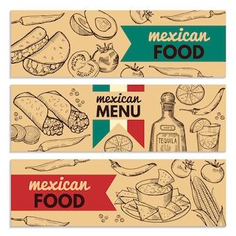 Fahnen stellten mit bild von verschiedenen mexikanischen nahrungsmitteln für restaurantmenü ein