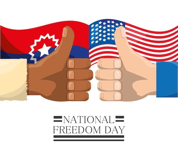 Fahnen und alle guten hände zur nationalen freiheit