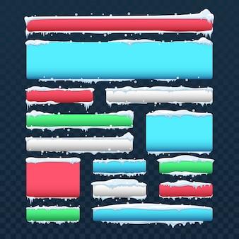 Fahnen und knöpfe mit schneekappen und eiszapfenvektorsatz. knopffarbrahmen mit weißer schneekappenillustration