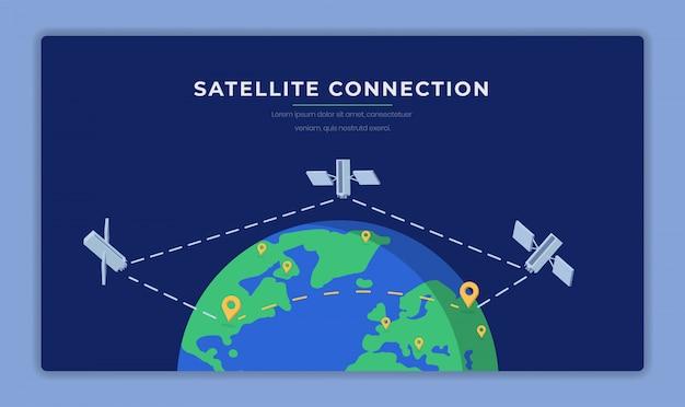 Fahnen-vektorschablone der satellitenverbindung flache