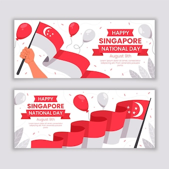 Fahnen zum nationalfeiertag in singapur eingestellt