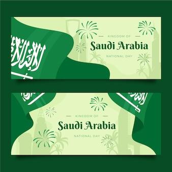 Fahnen zum saudischen nationalfeiertag eingestellt