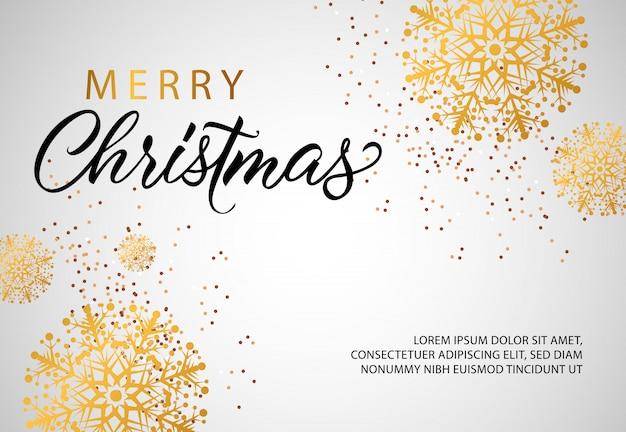 Fahnendesign der frohen weihnachten mit goldenen schneeflocken