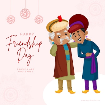 Fahnendesign der glücklichen freundschaftstagkarikaturartillustration