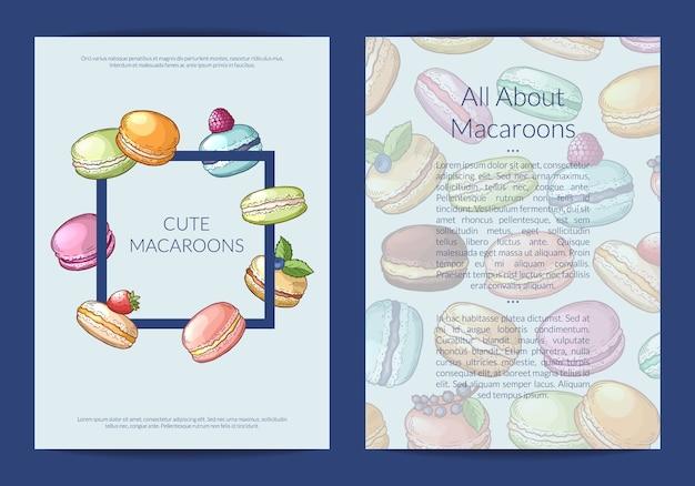 Fahnenkarte, fliegerschablone für süßigkeiten oder konditorei mit farbiger hand gezeichneter makronenillustration