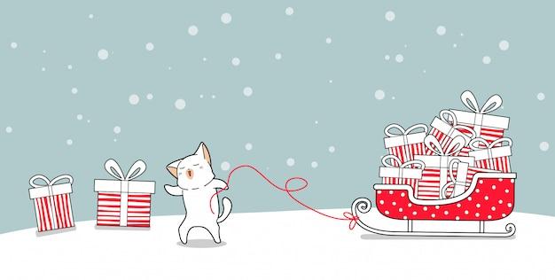 Fahnenkatzencharakter mit geschenken auf pferdeschlittenfahrzeug am weihnachtstag