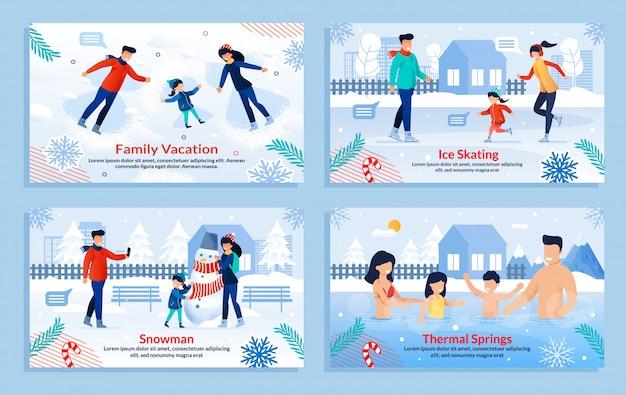 Fahnensatz mit familie führen im freienaktivitäten durch