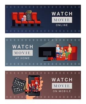 Fahnensatz verschiedene plätze für aufpassenden film wie online zu hause und auf beweglicher vektorillustration. flaches konzept des filmstreifendesigns