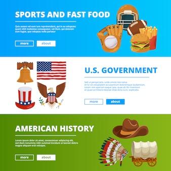 Fahnenschablone eingestellt mit symbolen der amerikanischen kultur