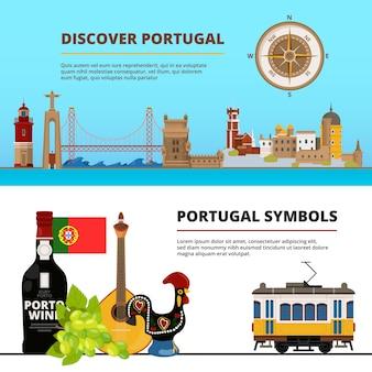 Fahnenschablone stellte mit illustrationen von portugiesischen kulturgütern ein