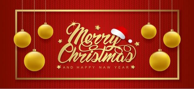 Fahnenschablonen-funkelnbälle und -rahmen der frohen weihnachten