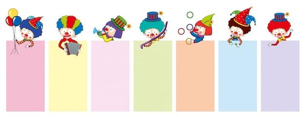 Fahnenschablonen mit glücklichen clownen und werkzeugen