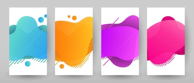 Fahnenschablonendesign mit abstrakter flüssiger farbe. flash sale sonderangebot set