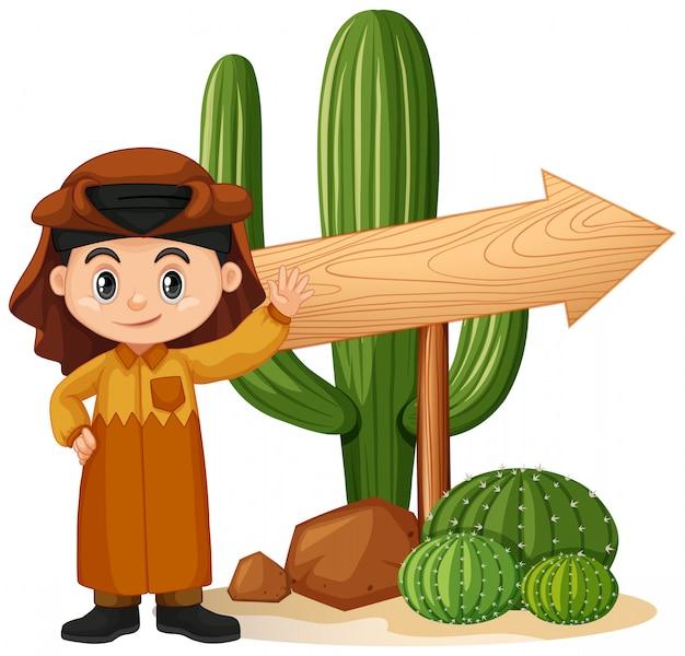 Fahnenschablonendesign mit jungen und kaktus