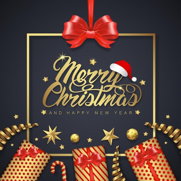 Fahnenschablonengeschenke und -rahmen der frohen weihnachten und des guten rutsch ins neue jahr