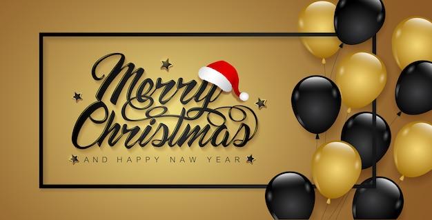 Fahnenschablonenrahmen und -ballone der frohen weihnachten