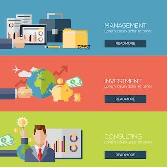 Fahnenschablonensatz für geschäft, finanzierung, strategisches management, investition, natürliche ressourcen, beratung, teamwork, großartige idee