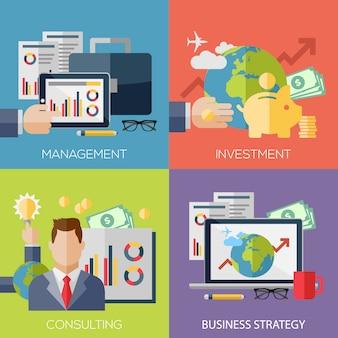 Fahnenschablonensatz für geschäft, finanzierung, strategisches management, investition, natürliche ressourcen, beratung, teamwork