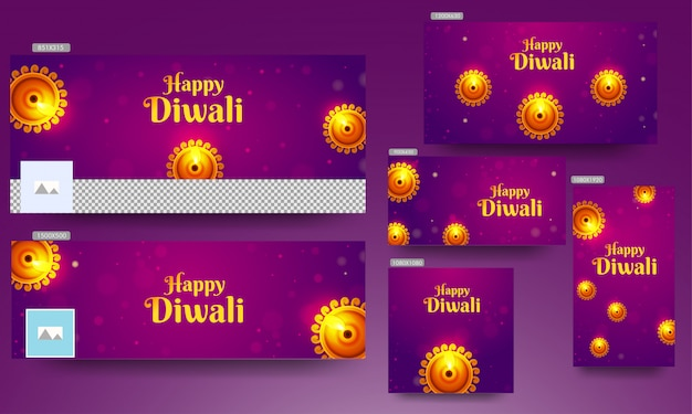 Fahnenschablonensatz mit draufsicht der belichteten öllampe (diya) verziert auf purpurrotem bokeh für glückliches diwali.