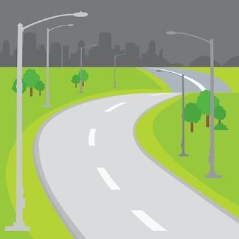 Fahrbahn-leerer hintergrund-design-karikaturvektor