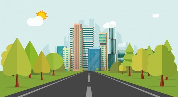 Fahrbahn oder landstraße zu den stadtgebäuden auf flacher karikatur der horizontvektor-illustration
