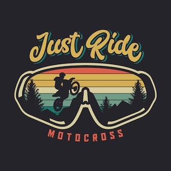 Fahren sie einfach motocross mit gläsern und sonnenuntergangweinleseillustration