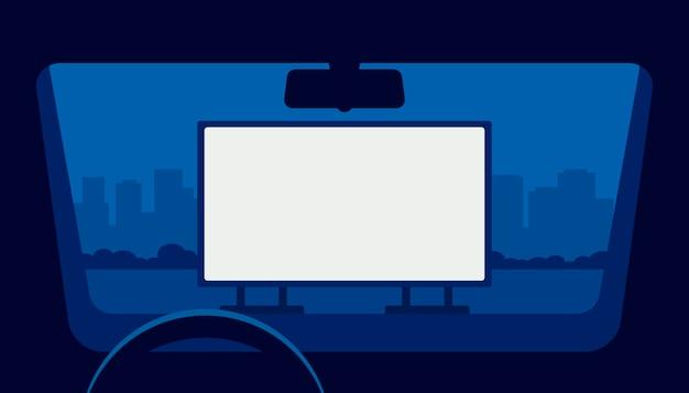 Fahren sie kino, auto kino, auto theater. blick vom fensterwagen auf den parkplatz im freien bei nacht.