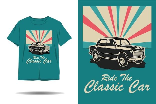 Fahren sie mit dem oldtimer-silhouette-t-shirt-design