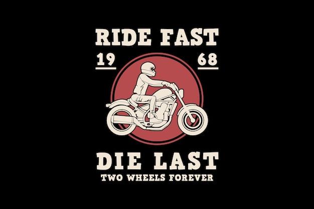 Fahren sie schnell, sterben sie zuletzt, design-silhouette im retro-stil