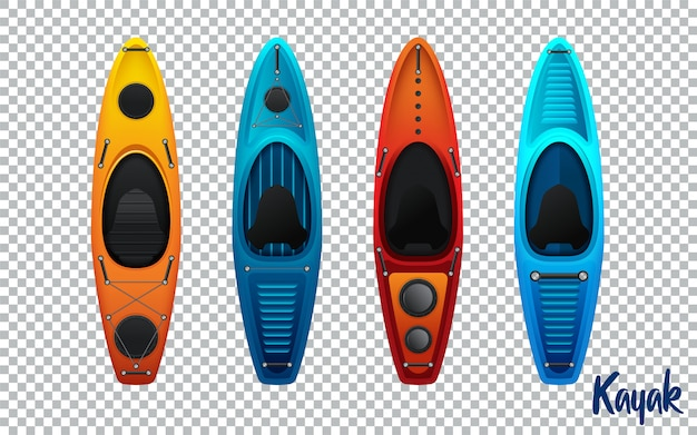 Fahren sie vom plastik für die fischen- und tourismusvektorillustration kayak, die auf transparentem hintergrund lokalisiert wird
