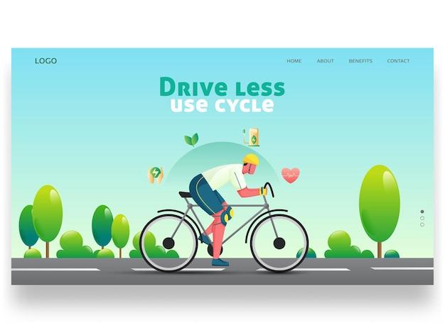Fahren sie weniger und nutzen sie die zyklusbasierte landing page mit dem fahrrad