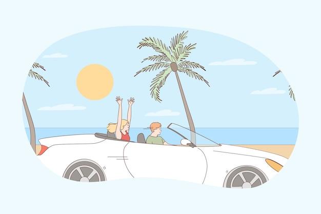 Fahren während des urlaubskonzepts. junge glückliche paarkarikaturfiguren, die im auto sitzen und entlang der küste im sommer während der reise reisen