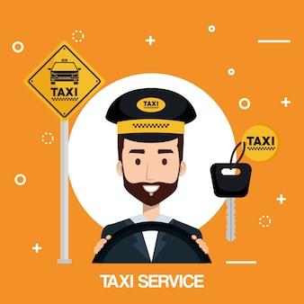 Fahrer man taxi service transport öffentliche app