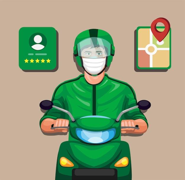Fahrer mit profilbewertung und gps-symbol