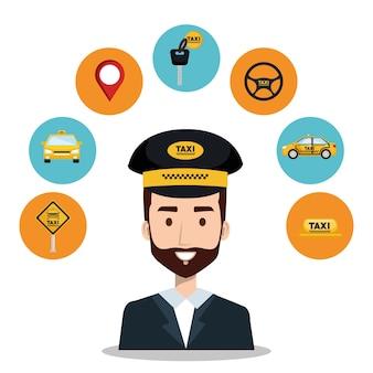 Fahrer taxi service app cartoon icons