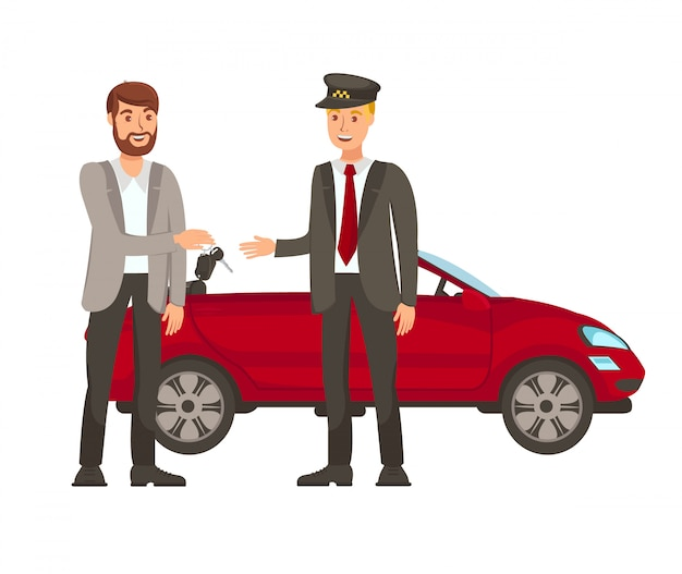Fahrer- und passagier-flache vektor-illustration
