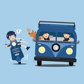 Fahrercharakter auf der straßenillustration