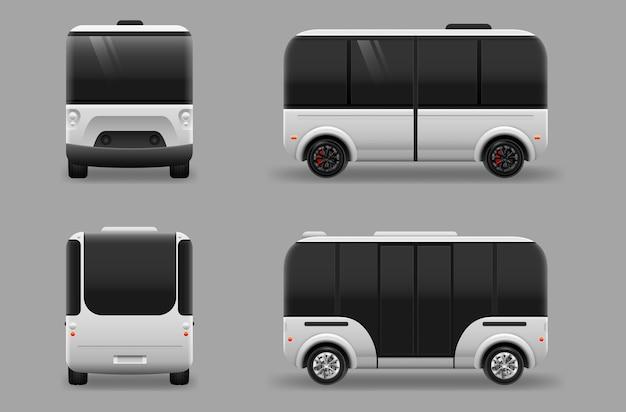 Fahrerloser elektrischer zukunftstransport. autonome selbstfahrende fahrzeugmaschine.