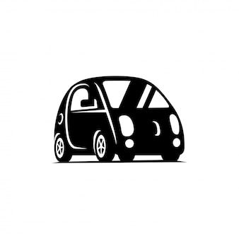 Fahrerloses fahrzeug mit delf-antrieb. auto seitenansicht flach symbol